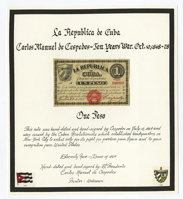 Republica De Cuba, 1869 Banknote Signed by President