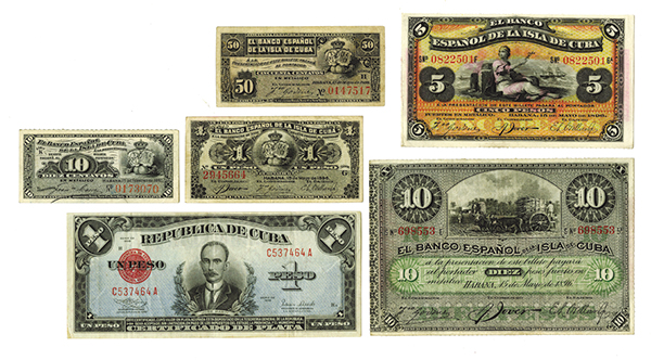 Banco Espanol De La Cuba, 1896 Issue Assortment & Republica De Cuba, 1938 Issue.