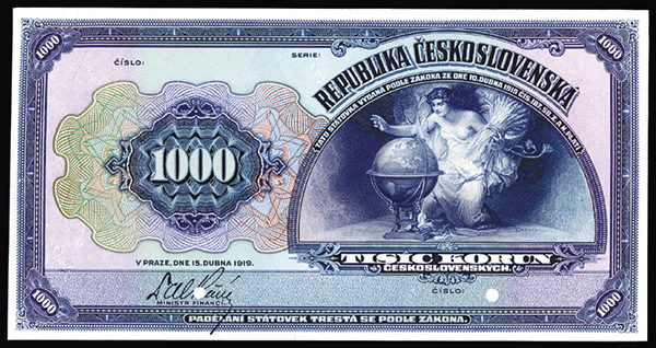 Republika Ceskoslovenska, 1919 Proof Banknote.