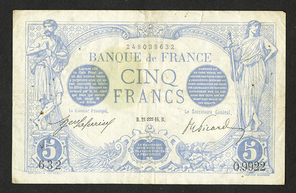 Banque de France (1871-74) Issued Bank Note