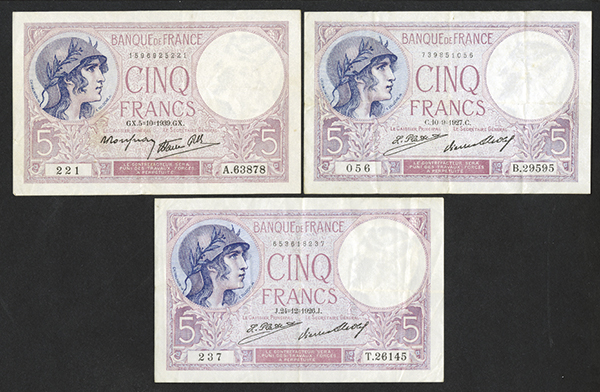 Banque de France 1920's & 1939 Issued Bank Notes