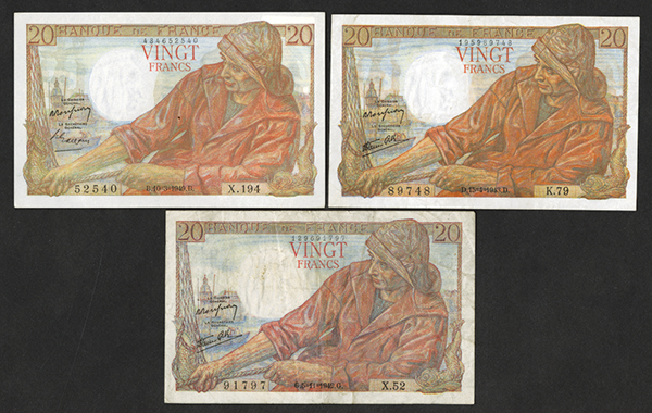 Banque de France 1940's Group of 3 Issued Bank Notes