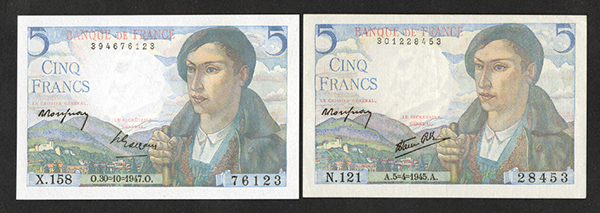 Banque de France 1945, 1947 Issued Bank Notes