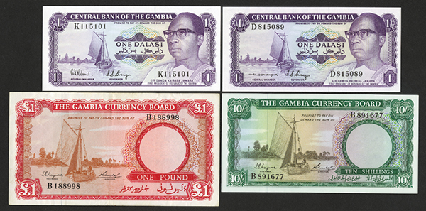 Gambia Currency Board, Central Bank of the Gambia 1965-70's Currency Board Note and Bank Note Issues