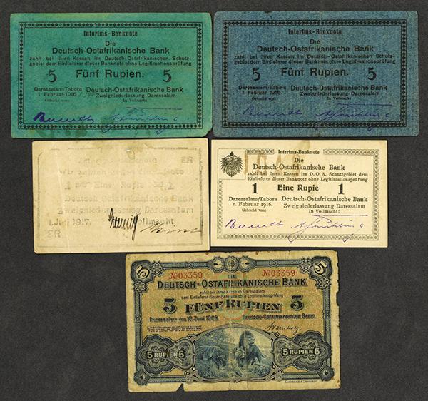 Deutsche-Ostafrikanische Bank. 1905, 1916-17 Issues.