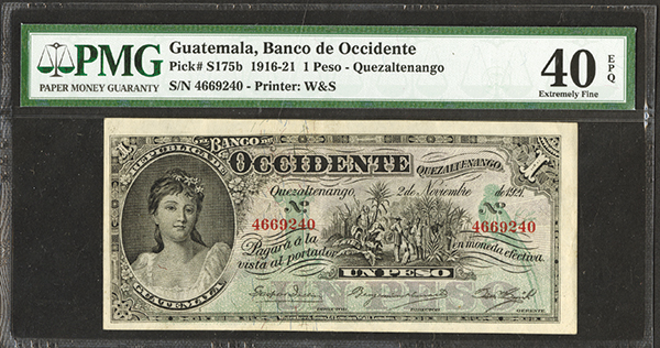 Banco De Occidente en Quetzaltenango, 1921 Banknote.