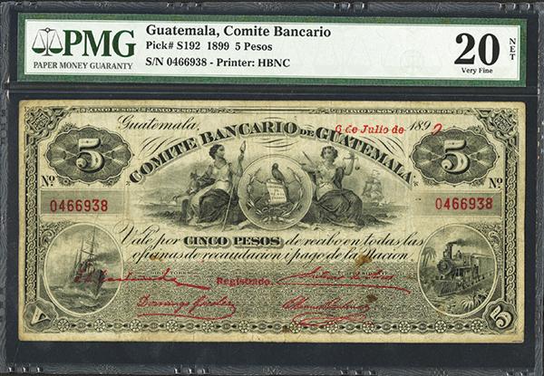 Comite Bancario de Guatemala. 1899 Issue.