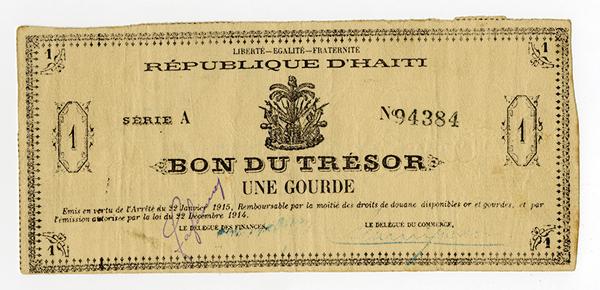 Republique D'Haiti, Bon Du Tresor, L'Arrete Du 22 Janvier 1915 Issue Banknote.
