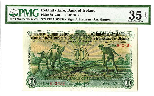 Currency Commission, Bank of ireland, 1937 Issued Banknote.