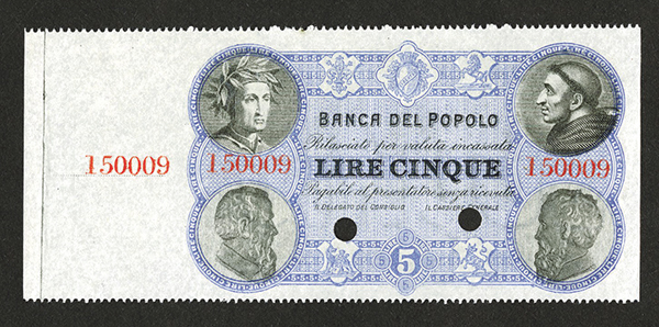 Banco de Popolo. 1860s-70s ND Issue Specimen Banknote.