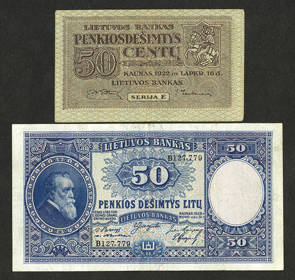 Bank of Lithuania 1922, 1928 Bank Note Issues