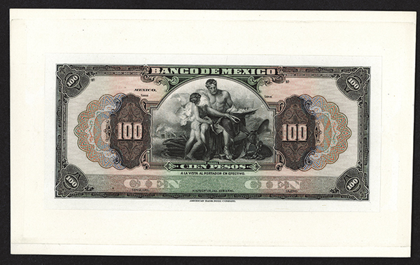 Banco de Mexico. 1925 Issue Proof Banknote..