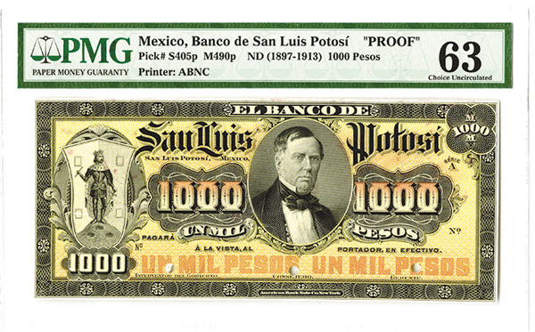 Banco de San Luis Potosi, ND (1897-1913), Series A, Proof Banknote.