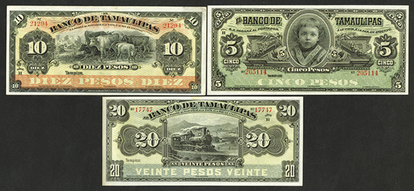 Banco de Tamaulipas. 1902 Issue.