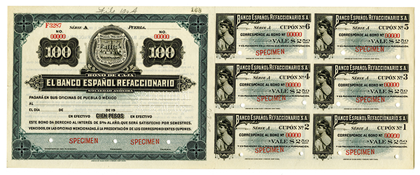 Bono De Caja. El Banco Espanol Refaccionario ND ca.1900-1909 Specimen Circulating Bond.