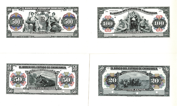 El Banco Del Estado De Chihuahua, 1913 Set of 6 Proof Banknotes.