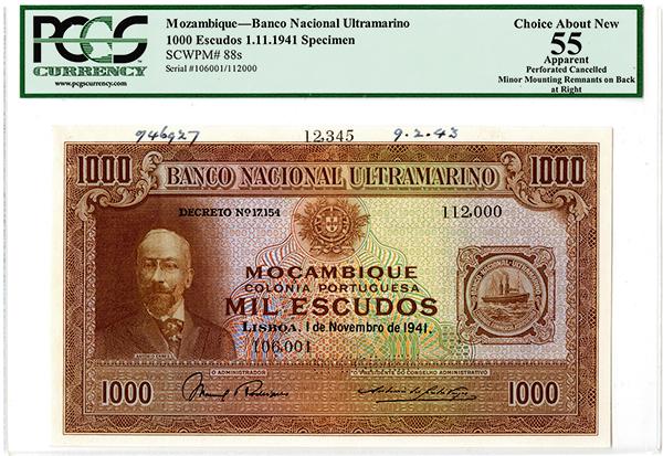 Banco Nacional Ultramarino, 1941 Specimen Banknote.