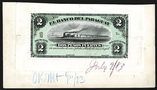 El Banco Del Paraguay, 1882 Issue Approval Proof Model.
