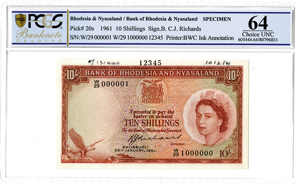 Bank of Rhodesia and Nyasaland, 1961 Specimen banknote.