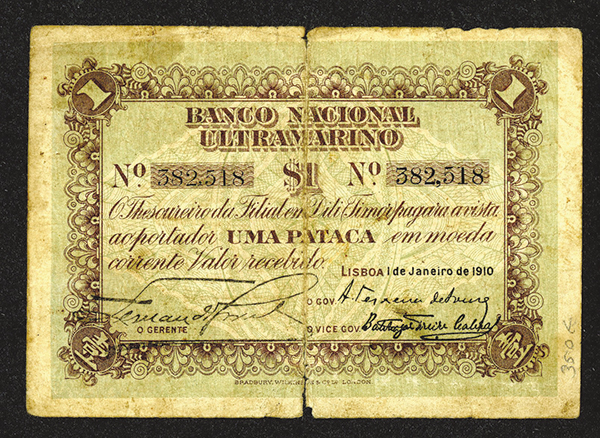 Portuguese Administration, Banco Nacional Ultramarino, 1910 Issue Note.