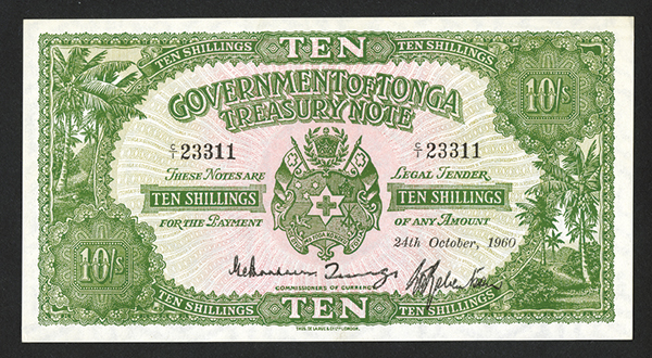 Government of Tonga Treasury Note Issue 1940-66