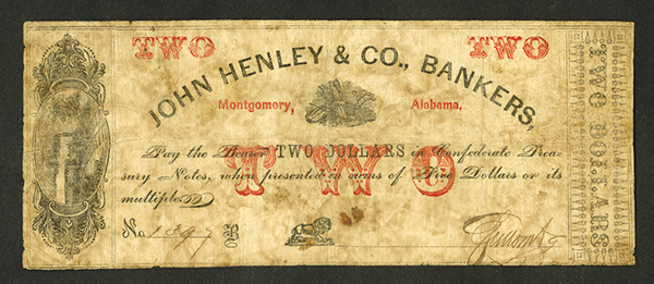John Henley & Co., Bankers, ND (ca.1860's) Obsolete Banknote With Full Offset Impression on Back.
