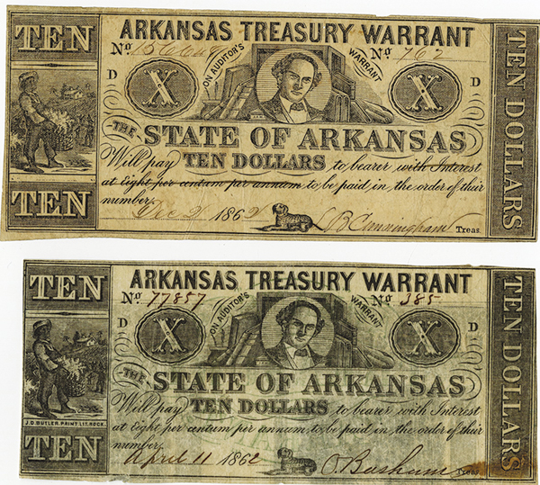 Arkansas Treasury Warrant, 1862 Obsolete Banknote Pair.