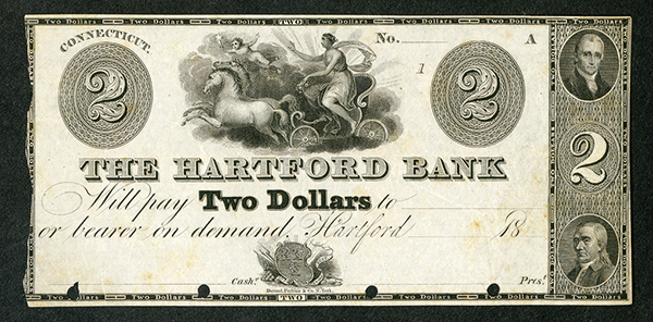 Hartford Bank, 18xx (ca.1820-30's) Proof Obsolete Banknote.