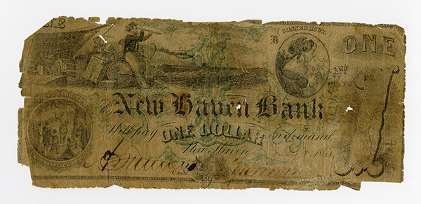 New Haven Bank, 1863 Contemporary Counterfeit Obsolete Banknote.
