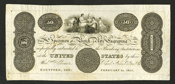 Specimen of Bank Note Engraving 1824 Sample Note By Reed, Stiles, Pelton   Co.