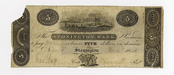 Stonington Bank, 1822 Whaling Vignette Obsolete Banknote.