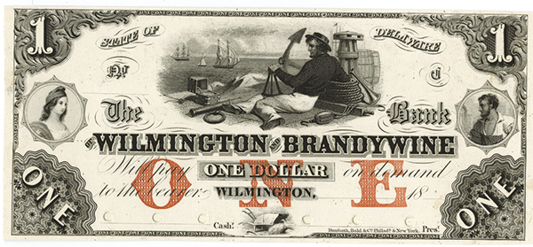 Bank of Wilmington and Brandywine, 18xx (ca.1850's) Proof Only Issue.
