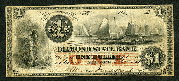 Diamond State Bank, 1866 Obsolete Note.
