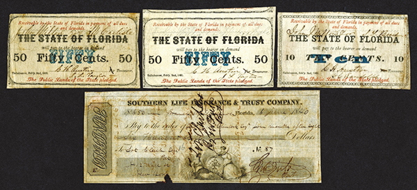 State of Florida, 1863; Southern Life Insurance & Trust Co. Postdated Check.
