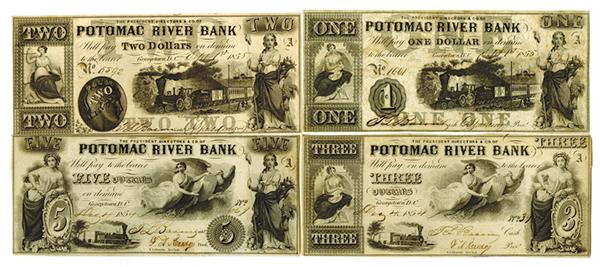 Potomac River Bank, 1854-55 Obsolete Banknote Quartet.