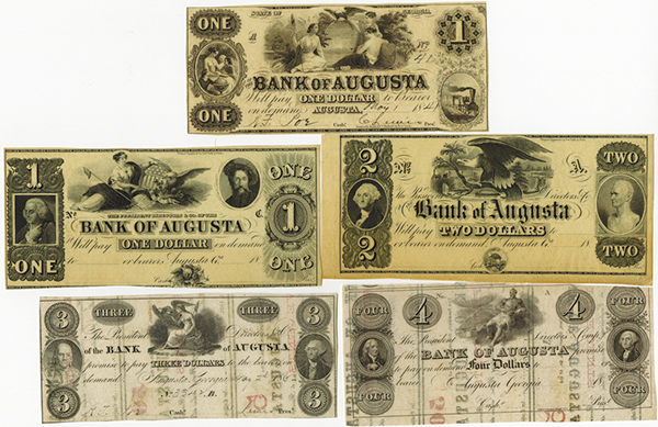 Bank of Augusta Banknote Assortment.