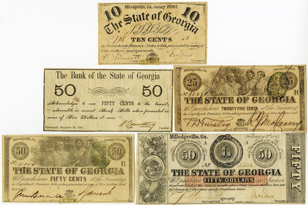 Georgia Obsolete Banknote Assortment.