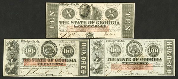 State of Georgia, 1862-63 Banknote Issue Trio.