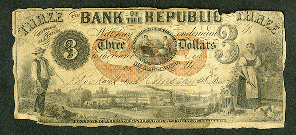 Bank of the Republic, ca. 1850's, Issued Obsolete Banknote.