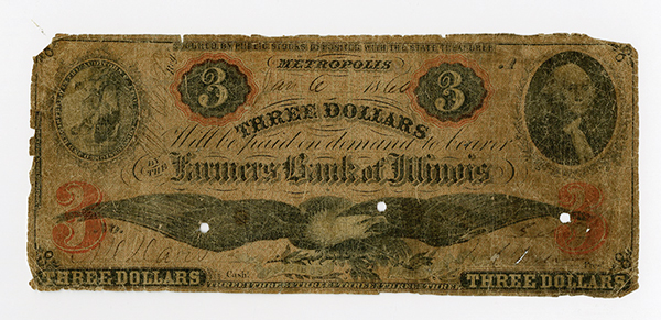 Farmers Bank of Illinois, 1860 Obsolete Banknote.