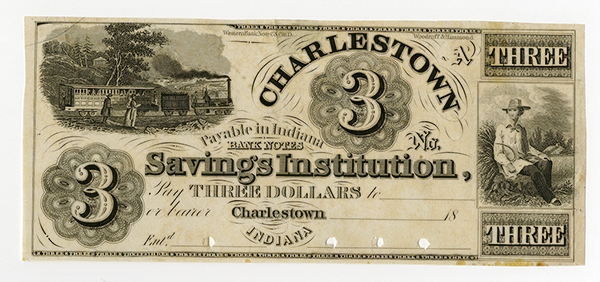 Charlestown Saving's Institution, 18xx (ca.1850-60's) Proof Obsolete Banknote.