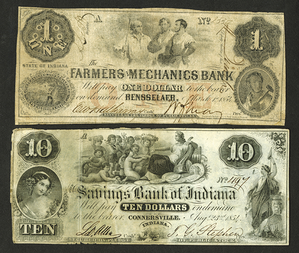 Indiana Obsolete Banknote Pair.