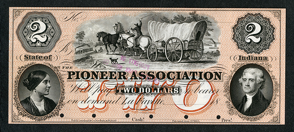 Pioneer Association, 18xx (ca.1850's) Proof Obsolete Banknote.