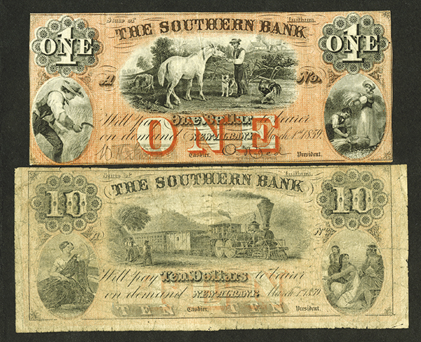Southern Bank, ca.1859 Obsolete Banknote Pair.