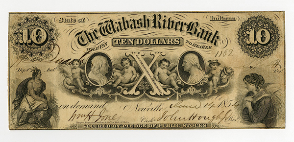 Wabash River Bank, 1854 Obsolete Banknote.