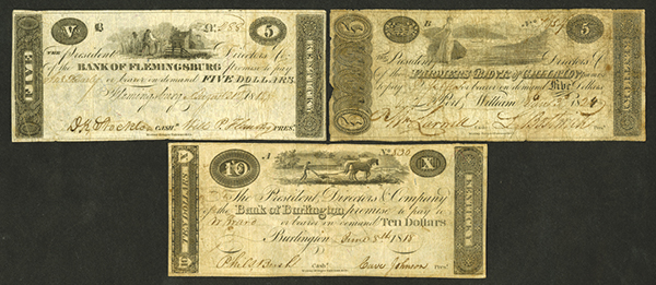 Bank of Burlington; Bank of Flemingsburg, 1818; and Farmers Bank of Gallatin Obsolete Banknote Trio.