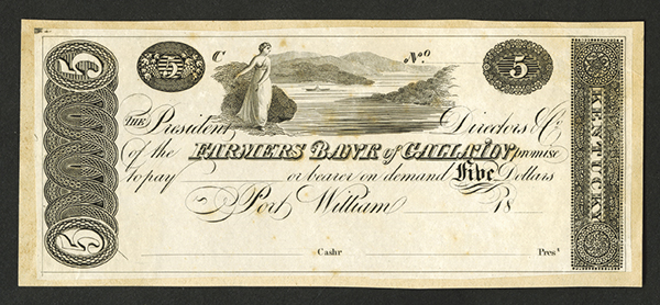 Farmers Bank of Gallatin, 18xx, ca.1810-1820's Proof Obsolete Banknote.