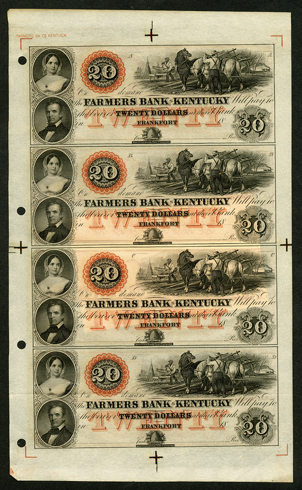 Farmers Bank of Kentucky, ca.1850's Unissued Obsolete Banknote Sheet.
