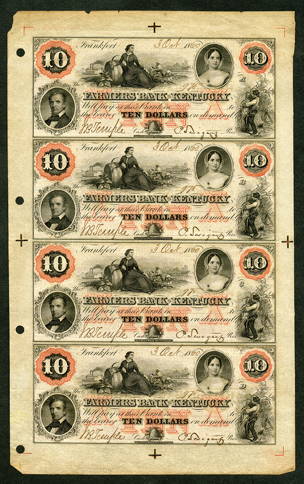 Farmers Bank of Kentucky, ca.1860 Issued Obsolete Banknote Sheet.
