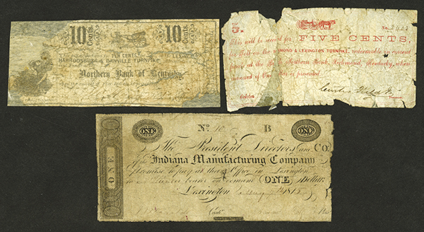 Lexington, Kentucky 1815-1860's Obsolete Scrip Note Trio.